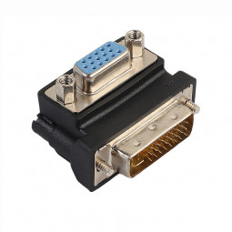 DVI-I 24+5 Pin Male to VGA 15 Pin Female 90 Degree Convertor Adapter
