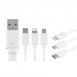 20cm 3 in 1 8Pin Lightning Micro USB Data Charging Cable for iPhone Samsung