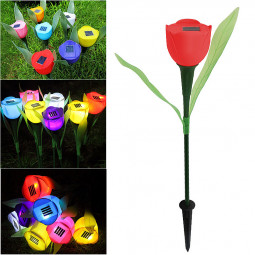 Solar-Powered Tulip Flower LED Lights for Garden Party Decor - Red