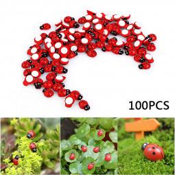 100Pcs Miniature Ladybird Ladybug Garden Ornament Figurine Fairy Dollhouse Home Decorations