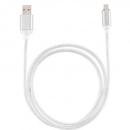 1M LED Charge Cable Micro USB Charging Data Cable Charger for Samsung Huawei PC Laptop - Silver
