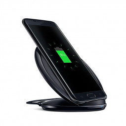 Qi Wireless Charger Fast Charging Stand Dock Pad for Samsung Cellphones - Black