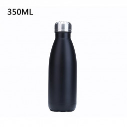 350ML Vacuum Water Flask Thermos Stainless Steel Insulated Thermos Water Bottle - Matte Black