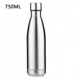 750ML Stainless Steel Vacuum Insulated Water Bottle Leak-proof Double Walled Drinks Bottle - Silver