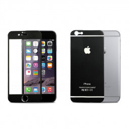Titanium Alloy Back + Front Tempered Glass Protector Film for Apple iPhone 6 - Black
