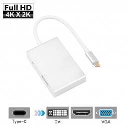 Mini 4 in 1 USB 3.1 Type C Male to HDMI VGA DVI USB 3.0 Female Video Adapter for Macbook