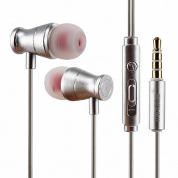 3.5mm Metal Earphone Super Bass Subwoofer In-Ear Earbuds with Mic - Silver