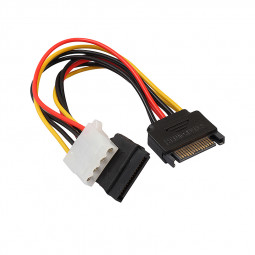 15Pin SATA Male to 4Pin IDE Molex Female + SATA Female Power Cable