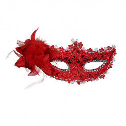 Halloween Masquerade Dance Party Sexy Women Lady Mask with Flower - Red