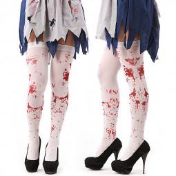 1 Pair Halloween White Bloody Stockings Horror Blood Socks Dress Props