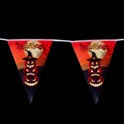 8.2ft Halloween Triangle Flag Paper Pumpkin Pennant Banner Party Decor - Model 10