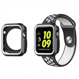 Shock Resistant Rugged Bumper Case for Apple Watch iWatch 38mm - Black + White