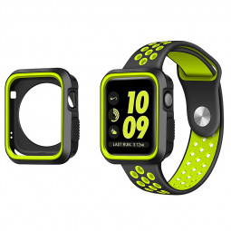 Apple Watch Silicone Bumper Protective Case for iWatch 42mm - Black + Green