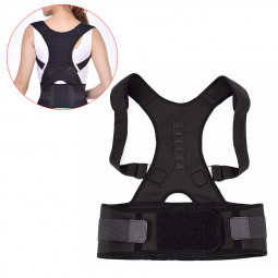 Size S Magnetic Posture Support Back Shoulder Corrector Therapy Brace Belt - Black