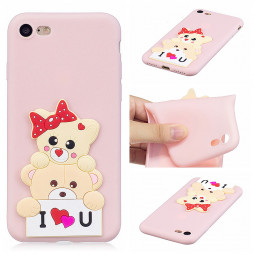 iPhone Silicone Case 3D Animal Pattern Soft TPU Shockproof Case Cover for Apple iPhone 7/8 - Little Bear