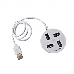 4 Port USB Hub USB 2.0 Round USB Splitter Box with Long Cable - White