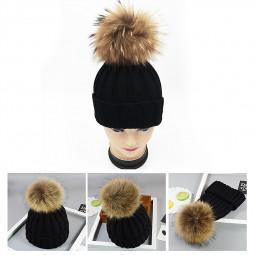 Adults Woman Man Warm Winter Wool Knit Beanie Pom Hat Cap - Black