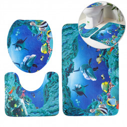 3Pcs Set Bathroom Non-Slip Pedestal Rug + Lid Toilet Cover + Bath Mat - Ocean World