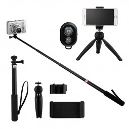 Selfie Stick Tripod Mount Adapter with Remote Control for Gopro Camera Smartphone