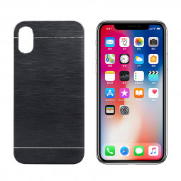 For Apple iPhone X/XS Brushed Metal Skin PC Hard Case Cover - Black