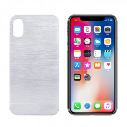 For Apple iPhone X/XS Brushed Metal Skin PC Hard Case Cover - Silver