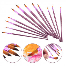 12pcs Painting Brushes Artist Nylon Acrylic Oil Paint Drawing Art Pen