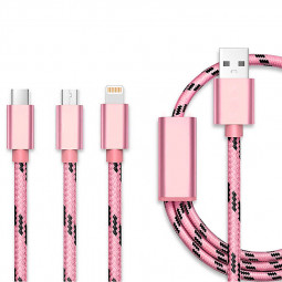 0.3M 3 in 1 Lightning Micro USB Type-C Knit Charging Cable for iPhone X 8 Samsung Huawei - Rose Golden