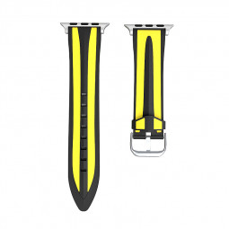 38mm Apple Watch Series 2/1 Band Silicone Sports Replacement Watchband Wrist Strap - Black + Yellow