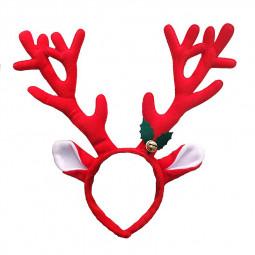 Christmas Elk Antlers Reindeer Bell Headband Headwear Funny Xmas Party Decoration - Red