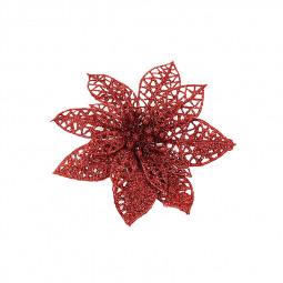 10cm Christmas Glitter Poinsettia Flower Decor Xmas Wreath Crafts Decorations - Red
