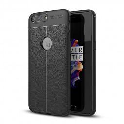 Slim Soft TPU Silicone PU Leather Striae Case Back Cover for One Plus 5 - Black