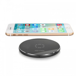 N9 Wireless Charger Portable Metal Circular Charging Pad for iPhone 8/X - Black