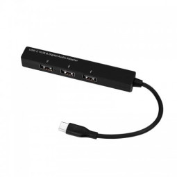 Type-C to 3.5mm Digital Audio Jack Converter Adapter with 3 USB Ports Extender Hub