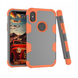 iPhone X/XS PC + TPU Shockproof Bump Protective Contrast Colors Case Back Cover - Grey + Orange