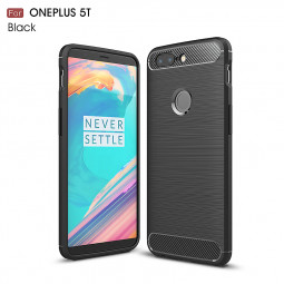 Slim Thin Carbon Fiber Armor Silicone TPU Shockproof Case Back Cover for One Plus 5T - Black