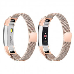 Stainless Mesh Milanese Metal Watchband Replacement Wristband Band Strap for Fitbit Alta HR - Rose Golden