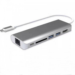USB-C Multi-port USB Hub HDMI Adapter with Card Reader Gigabit Ethernet Adapter