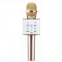 Q7 Wireless Bluetooth Handheld Microphone Portable Home KTV Karaoke Stereo Mic Speaker USB Player for Mobile PC - Golden