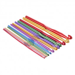12pcs Multi Coloured Aluminium Crochet Hooks Yarn Knitting Needles Set Random Color