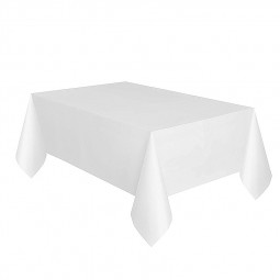 Plastic Rectangle Tablecover Disposable Waterproof Table Cloth Covers for Party Catering - White