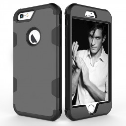 iPhone 6S Plus PC Hard Back TPU Bumper Shockproof Protective Case Cover Shell - Black