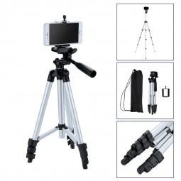 Pro Stretchable Camera Tripod Stand Mount Holder with 5.5 Inches Phone Clip for iPhone Samsung