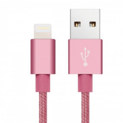 2m High Quality Metal Knit Weave Braid Data Cable for iPhone6 6s Plus 7 8 8 Plus X - Rose Gold