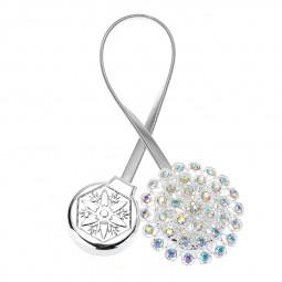 2 PCS Magnetic Curtain Tiebacks Crystal Tie Back Buckle Clips Holdbacks Home Decor - Silver