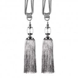 1 Pair Tassel Curtain Tiebacks Rope Tie Backs Holdbacks with Crystal Ball Decor - Silver