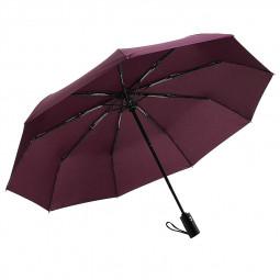 23-Inch 10 Ribs Auto Open/Close Umbrella Folding Portable Travel Sun Rain Umbrella - Wine Red