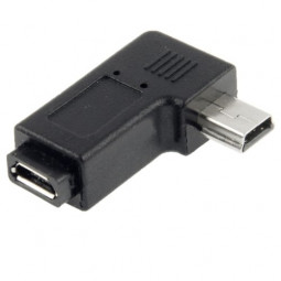 90 Degree Right Angle Micro USB to Mini USB Adapter Connector