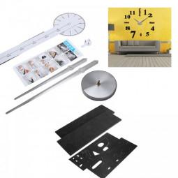 DIY Large Wall Clock 3D Mirror Surface Sticker Home Decor Art Design - Black