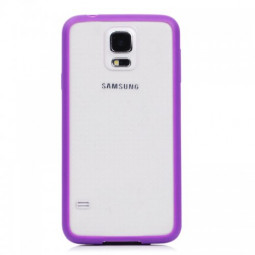Transparent Back Gel Case Cover for Samsung S5- Purple