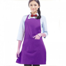 Plain Apron with Front Pocket for Chefs Kitchen Cooking Crafts -Purple